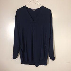 Vince Navy Blue Silk Blouse. Size medium